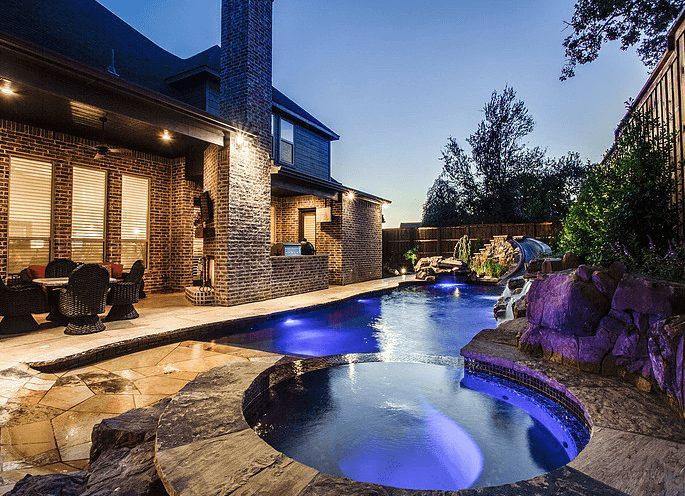 Small Pool With Spa and Hardscape