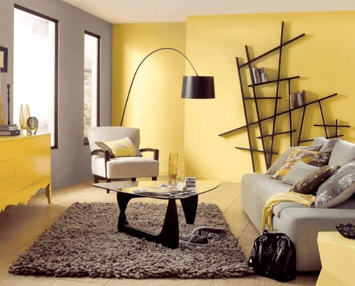 Modern yelow living room color ideas